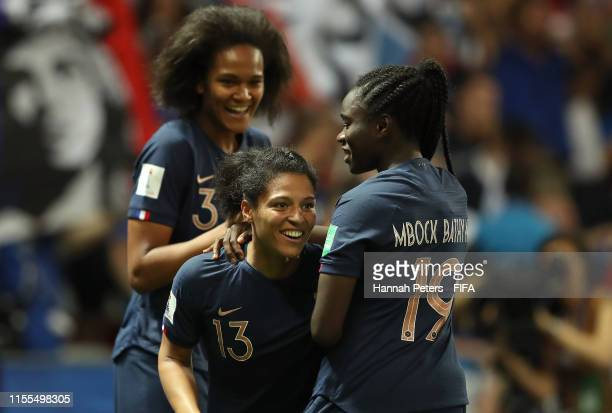 Valerie Gauvin of France celebrates after scoring her team's first goal with Griedge Mbock Bathy of France during the 2019 FIFA Women's World Cup...