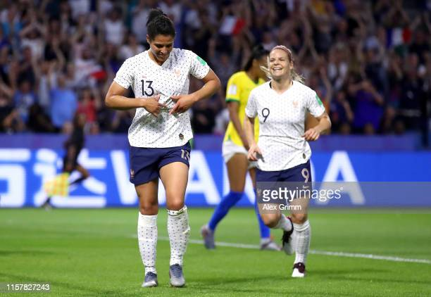Valerie Gauvin of France celebrates after scoring her team's first goal during the 2019 FIFA Women's World Cup France Round Of 16 match between...