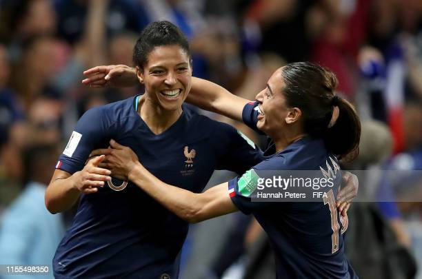 Valerie Gauvin of France celebrates with teammate Amel Majri after scoring her team's first goal during the 2019 FIFA Women's World Cup France group...
