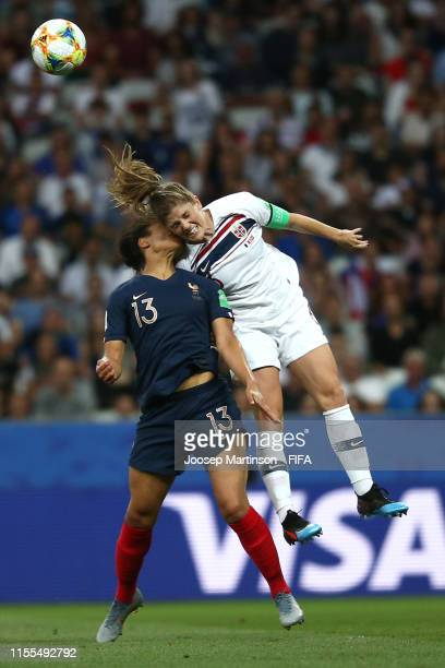 Valerie Gauvin of France competes for a header with Maren Mjelde of Norway during the 2019 FIFA Women's World Cup France group A match between France...