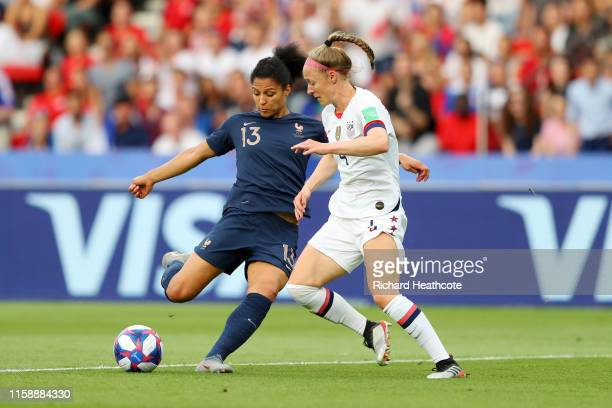 Valerie Gauvin of France is challenged by Becky Sauerbrunn of the USA during the 2019 FIFA Women's World Cup France Quarter Final match between...