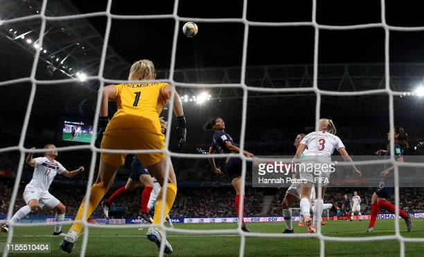 Valerie Gauvin of France wins a header during the 2019 FIFA Women's World Cup France group A match between France and Norway at Stade de Nice on June...