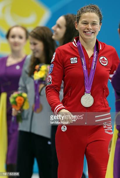 Valerie Grand-Maison of Canada with her Gold medal from the Women's 100m Freestyle - S13 on day four of the London 2012 Paralympic Games at the...
