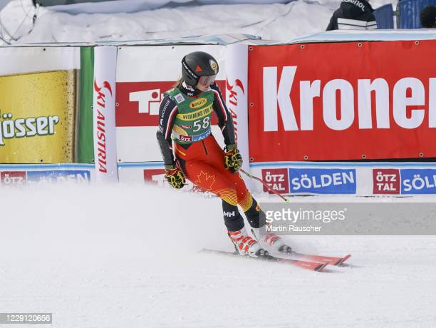 Valerie Grenier of Canada competes during the Women's Giant Slalom of the Audi FIS Alpine Ski World Cup at Rettenbach glacier on October 17, 2020 in...