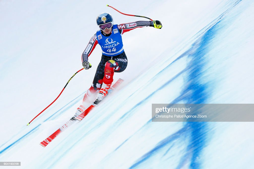 Valerie Grenier of Canada in action during the Audi FIS Alpine Ski World Cup Women's Downhill Training on January 12, 2018 in Bad Kleinkirchheim, Austria.