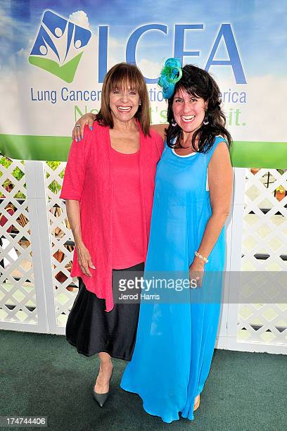 Valerie Harper and Beth Stern attend Lung Cancer Foundation of America's 'Day At The Races' at Del Mar Race Track on July 28 2013 in Del Mar...