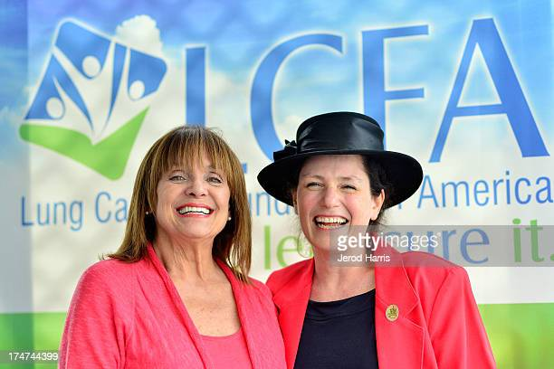 Valerie Harper and Rachel Schwartz attend Lung Cancer Foundation of America's 'Day At The Races' at Del Mar Race Track on July 28 2013 in Del Mar...