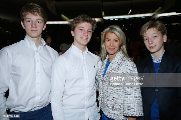 Valerie Hortefeux and her sons Edouard Amaury and Maxence attend the 32th 'Reve d'Enfants' Charity Gala at Opera Bastille on December 17 2017 in...