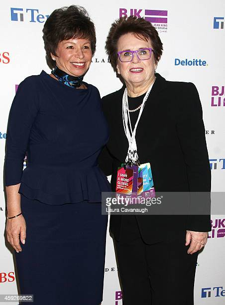 Valerie Jarrett and Billie Jean King attend the Billie Jean King Leadership Initiative Gala at Powerhouse at The American Museum of Natural History...