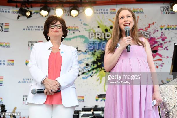 Valerie Jarrett and Chelsea Clinton speak onstage during Pride Live's 2019 Stonewall Day on June 28 2019 in New York City