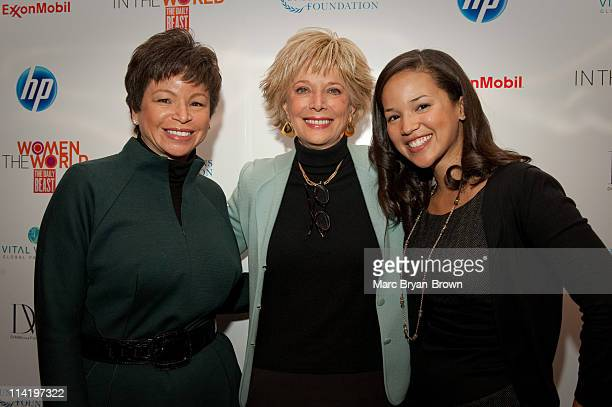 Valerie Jarrett Leslie Stahl and Laura Jarrett attend day 3 of the ''Women In The World Stories and Solutions'' Summit at Hudson Theatre on March 14...