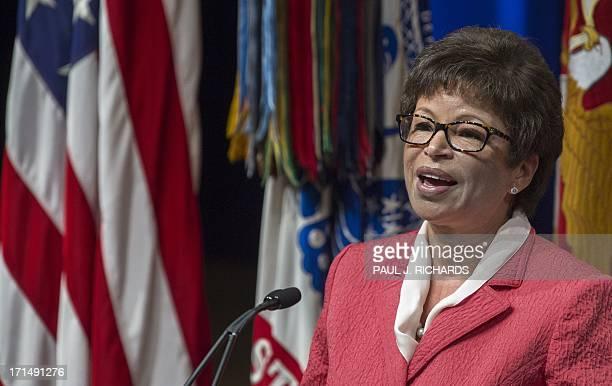 Valerie Jarrett Senior Advisor to US President Barack Obama delivers remarks during the 2013 Lesbian Gay Bisexual Transgender Pride Month Ceremony at...