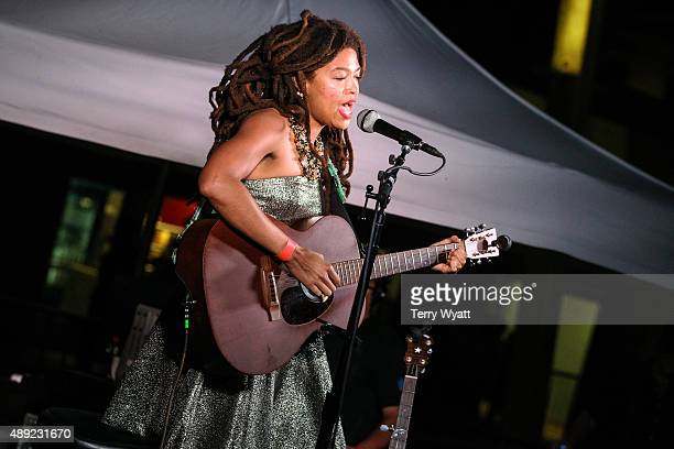 Valerie June performs during the 16th Annual Americana Music Festival Conference at Ascend Amphitheater on September 19 2015 in Nashville Tennessee