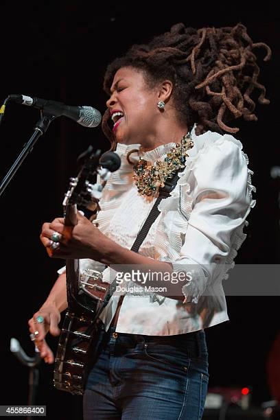 Valerie June performs during the 2014 Fresh Grass Music Festival at Mass MoCA on September 20 2014 in North Adams Massachusetts