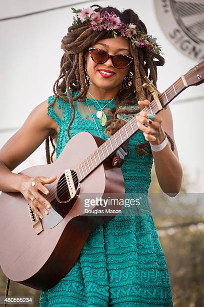 Valerie June performs during the Green River Festival 2015 at Greenfield Community College on July 12 2015 in Greenfield Massachusetts