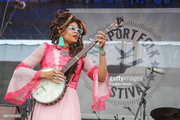 Valerie June performs during the Newport Folk Festival 2018 at Fort Adams State Park on July 28 2018 in Newport Rhode Island