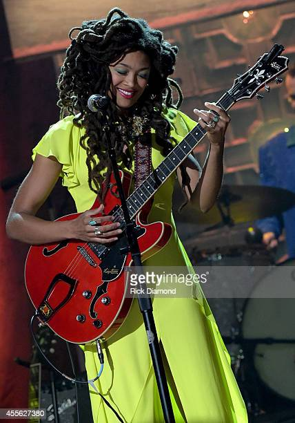 Valerie June performs onstage at the 13th annual Americana Music Association Honors and Awards Show at the Ryman Auditorium on September 17 2014 in...