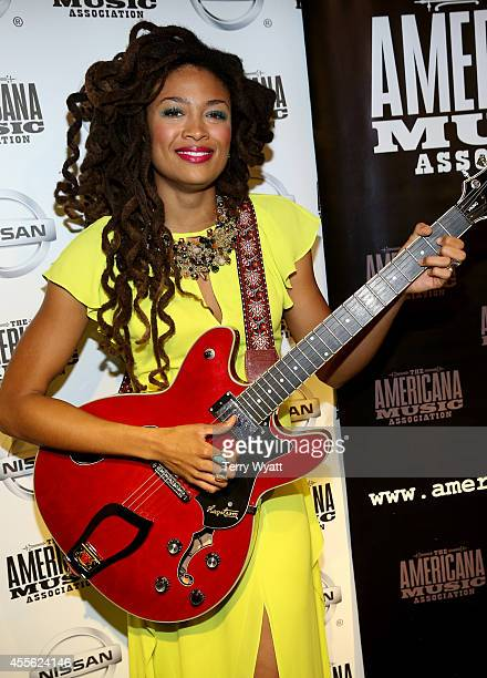 Valerie June poses backstage at the 13th annual Americana Music Association Honors and Awards Show at the Ryman Auditorium on September 17 2014 in...
