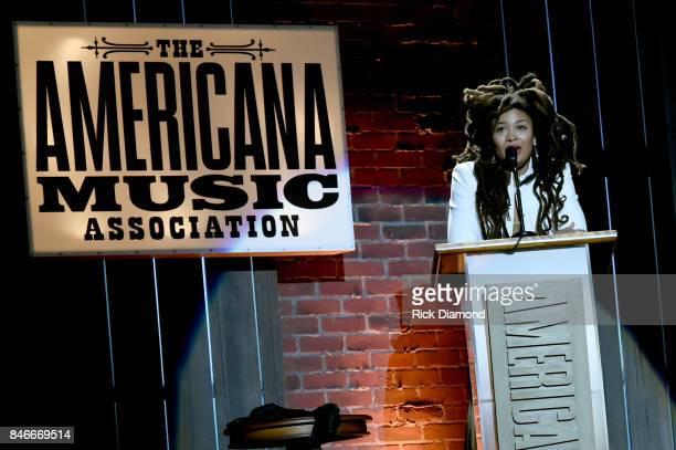 Valerie June speaks onstage during the 2017 Americana Music Association Honors Awards on September 13 2017 in Nashville Tennessee