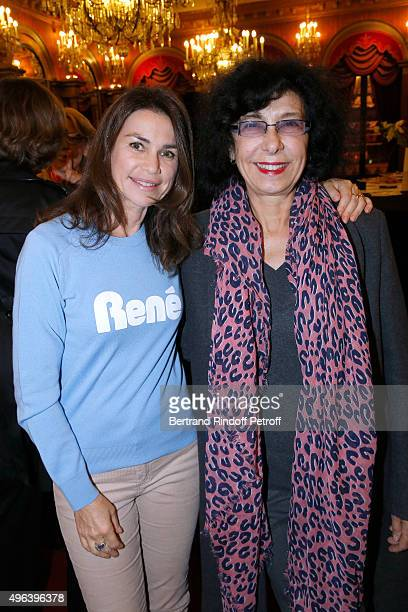 Valerie Kapriski and Producer Christine Gozlan attend the Theater Play 'Ne me regardez pas comme ca ' performed at 'Theatre Des Varietes' on...