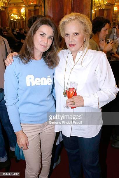 Valerie Kapriski and Sylvie Vartan attend Sylvie Vartan triumphs in the Theater Play 'Ne me regardez pas comme ca ' performed at 'Theatre Des...