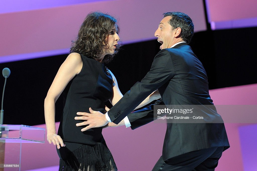 Valerie Lemercier and Gad Elmaleh attend the 35th Cesar awards ceremony, held at the Chatelet theater in Paris.