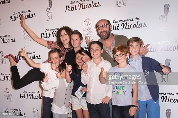 Valerie Lemercier Kad Merad Matheo Boisselier and his friends attend the 'les vacances du petit Nicolas' Premiere at Cinema Gaumont Capucine in Paris