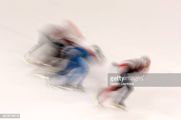 Valerie Maltais of Canada competes in the Ladies' 1000m Quarter Finals Short Track Speed Skating on day thirteen of the PyeongChang 2018 Winter...