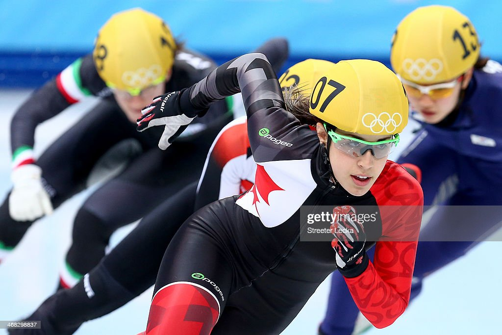 Valerie Maltais of Canada competes in the Short Track Speed Skating Ladies' 500m heats on day 3 of the Sochi 2014 Winter Olympics at Iceberg Skating Palace on February 10, 2014 in Sochi, Russia.
