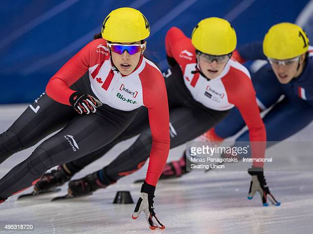 Valerie Maltais of Canada competes on Day 2 of the ISU World Cup Short Track Speed Skating competition at MauriceRichard Arena on November 1 2015 in...