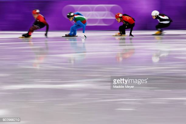 Valerie Maltais of Canada leads during the Short Track Speed Skating Ladies' 1000m Quarterfinal 2 on day thirteen of the PyeongChang 2018 Winter...