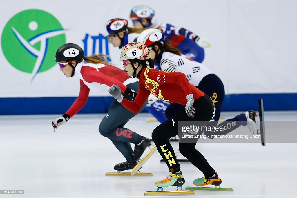 Valerie Maltais of Canada leads during the women's 1000m Semifinals at the ISU World Cup Short Track speed skating event at the Oriental Sports Center on December 11, 2016 in Shanghai, China.