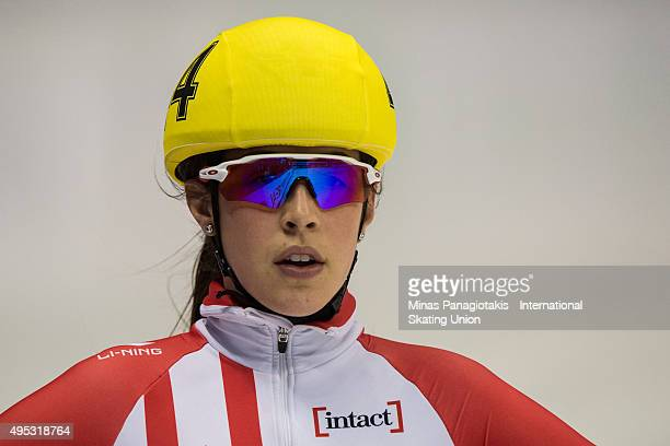 Valerie Maltais of Canada looks on during Day 2 of the ISU World Cup Short Track Speed Skating competition at MauriceRichard Arena on November 1 2015...