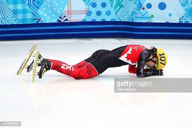 Valerie Maltais of Canada reacts after falling in the Short Track Women's 1000m Semifinals on day fourteen of the 2014 Sochi Winter Olympics at...
