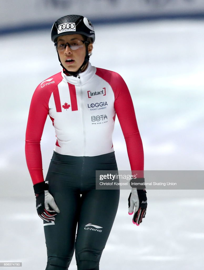Valerie Maltais of Canada reacts during the ladies 1000m final B of the Audi ISU World Cup Short Track Speed Skating at Bok Hall on October 1, 2017 in Budapest, Hungary.