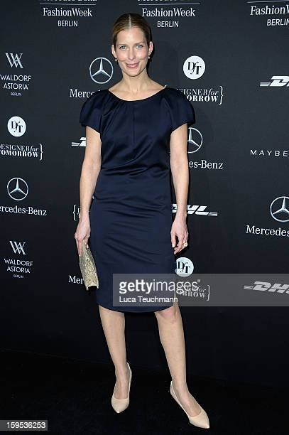 Valerie Niehaus attends Leandro Cano Autumn/Winter 2013/14 fashion show during MercedesBenz Fashion Week Berlin at Brandenburg Gate on January 15...
