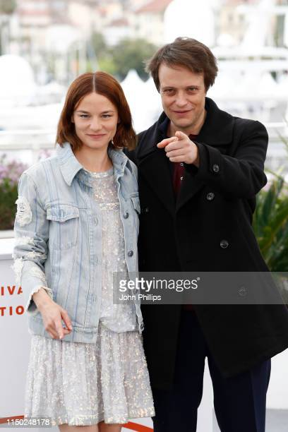 """Valerie Pachner and August Diehl attend the photocall for """"A Hidden Life"""" during the 72nd annual Cannes Film Festival on May 19, 2019 in Cannes,..."""