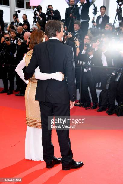 Valerie Pachner and August Diehl attend the screening of A Hidden Life during the 72nd annual Cannes Film Festival on May 19 2019 in Cannes France