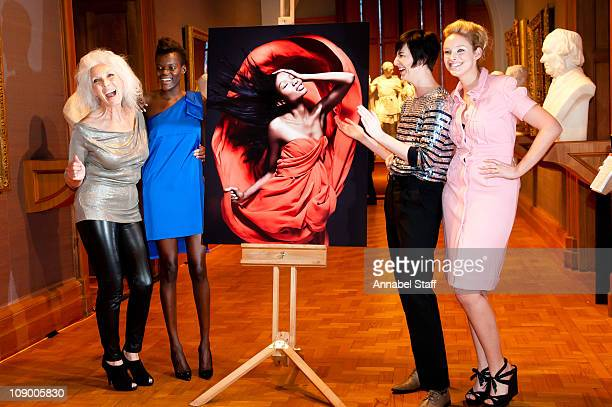 Valerie Pain Sheila Atim Erin OConnor and Kirsty McLennan pose at a photo call for All Walks Beyond The Catwalk at National Portrait Gallery on...