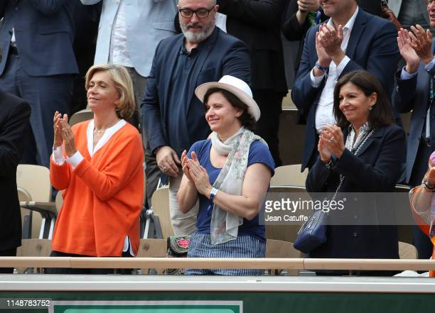Valerie Pecresse French Minister of Sports Roxana Maracineanu Mayor of Paris Anne Hidalgo attend the men's final during day 15 of the 2019 French...