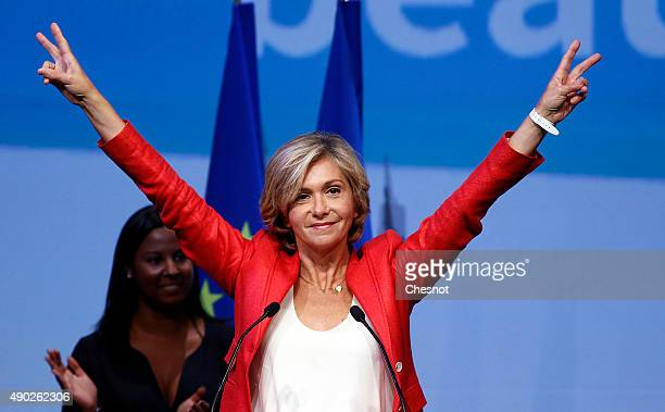 Valerie Pecresse 'Les Republicains' party's candidate gestures during a campaign meeting on September 27 2015 in NogentsurMarne France Valerie...