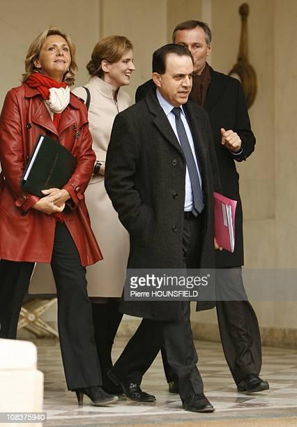 Valerie Pecresse Nathalie KosciuskoMorizet JeanMarie Bockel and Roger Karoutchi in Paris France on January 03rd 2008