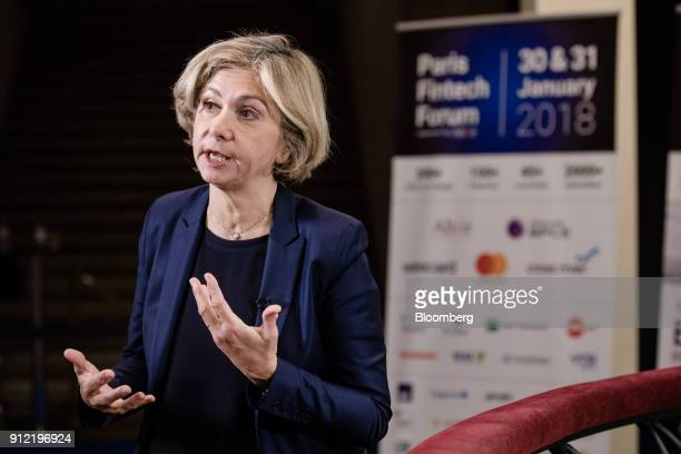 Valerie Pecresse Paris regions president gestures while speaking during a Bloomberg Television interview at the Paris Fintech Forum in Paris France...
