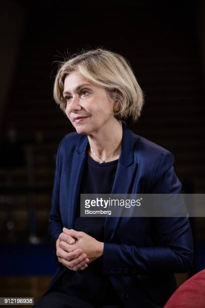 Valerie Pecresse Paris regions president pauses during a Bloomberg Television interview at the Paris Fintech Forum in Paris France on Tuesday Jan 30...
