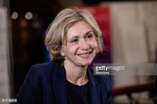 Valerie Pecresse Paris regions president reacts during a Bloomberg Television interview at the Paris Fintech Forum in Paris France on Tuesday Jan 30...