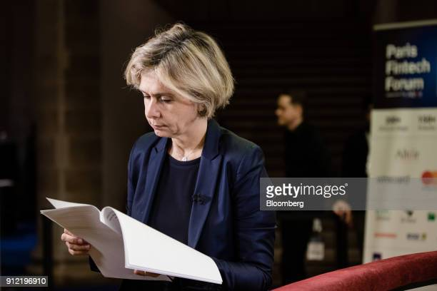 Valerie Pecresse Paris regions president reads a document following a Bloomberg Television interview at the Paris Fintech Forum in Paris France on...
