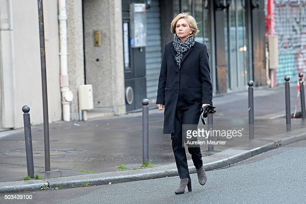 Valerie Pecresse President of the Ile de France region arrives to the inauguration of the memorial stone in front of the former Charlie Hebdo office...