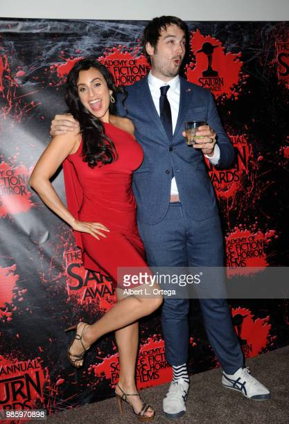 Valerie Perez and Jonah Ray pose in the press room at the Academy Of Science Fiction Fantasy Horror Films' 44th Annual Saturn Awards at The Castaway...