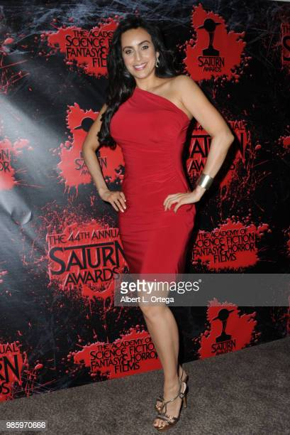 Valerie Perez poses in the press room at the Academy Of Science Fiction Fantasy Horror Films' 44th Annual Saturn Awards at The Castaway on June 27...