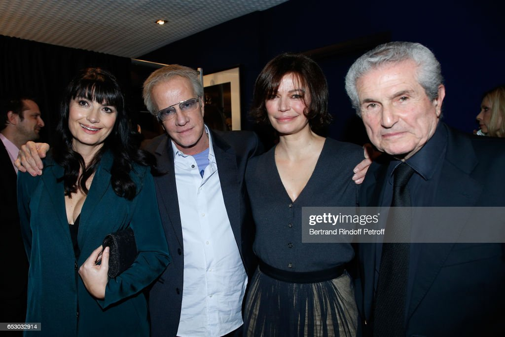 Valerie Perrin, Christophe Lambert, Marianne Denicourt and Claude Lelouch attend the 'Chacun sa vie' Paris Premiere at Cinema UGC Normandie on March 13, 2017 in Paris, France.